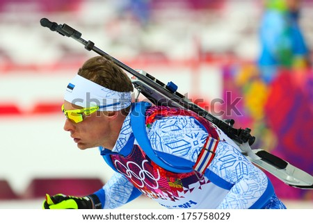 Sochi, RUSSIA - February 9, 2014: Kauri KOIV (EST) during Biathlon Men's Sprint 10 km competition at Sochi 2014 XXII Olympic Winter Games