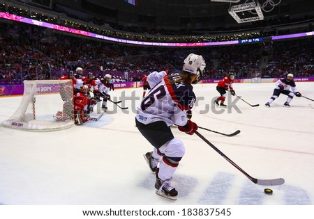 Sochi, RUSSIA - February 20, 2014: Kelli STACK (USA) at Canada vs. USA Ice hockey Women's Gold Medal Game at the Sochi 2014 Olympic Games - stock photo