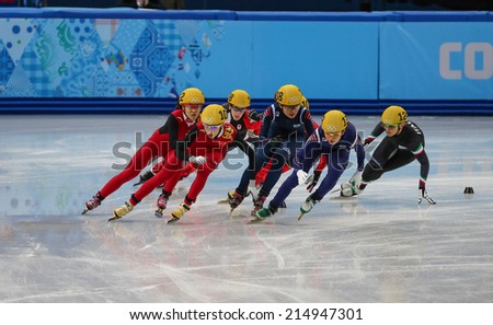 Sochi, RUSSIA - February 18, Kexin FAN (CHN), No 109 at Ladies' 3000 m Heats Short Track Relay at the Sochi 2014 Olympic Games - stock photo