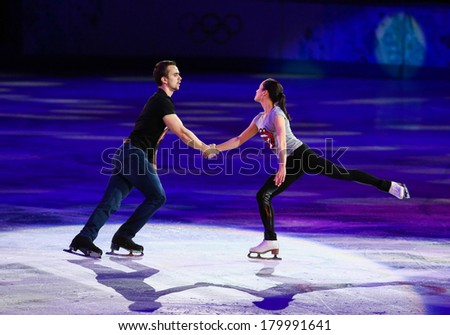 Sochi, RUSSIA - February 22, 2014: Ksenia STOLBOVA and Fedor KLIMOV at Figure Skating Exhibition Gala at Sochi 2014 XXII Olympic Winter Games