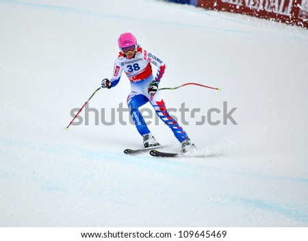 SOCHI, RUSSIA - FEBRUARY 18: Margot Bailet competes in the FIS Alpine Ski World Cup 2011/2012 on February 18, 2012 Russia, Sochi, Rosa Khutor