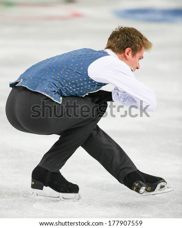 Sochi, RUSSIA - February 14, 2014: Michal BREZINA (CZE) on ice during figure skating competition of men free skating at Sochi 2014 XXII Olympic Winter Games