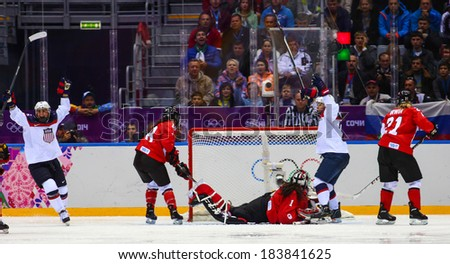 Sochi, RUSSIA - February 20, 2014: Michelle PICARD (USA) at Canada vs. USA Ice hockey Women's Gold Medal Game at the Sochi 2014 Olympic Games