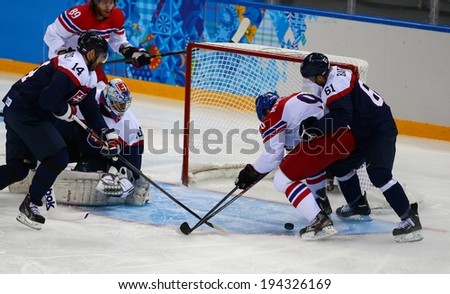 Sochi, RUSSIA - February 18, 2014: Milan MICHALEK (CZE) on ice during Ice hockey Men's Play-offs Qualifications Game vs. Slovakia team at the Sochi 2014 Olympic Games
