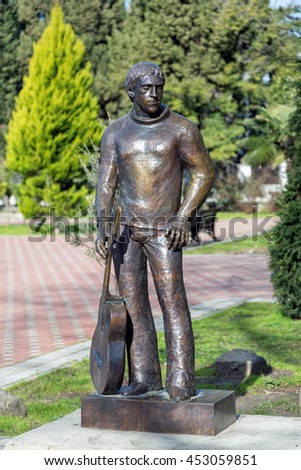 Sochi, Russia - February 11, 2016: Monument to a Russian singer-songwriter Vladimir Vysotsky - stock photo