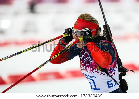 Sochi, RUSSIA - February 9, 2014: Olga ZAITSEVA (RUS) at Biathlon Women's 7.5 km Sprint at Sochi 2014 XXII Olympic Winter Games