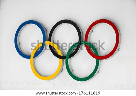 Sochi, RUSSIA - February 9, 2014: Olympic rings above shooting range during Biathlon Women's 7.5 km Sprint at Sochi 2014 XXII Olympic Winter Games - stock photo