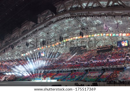 Sochi, RUSSIA  February 7, 2014: Opening ceremony of Sochi 2014 XXII Olympic Winter Games - stock photo