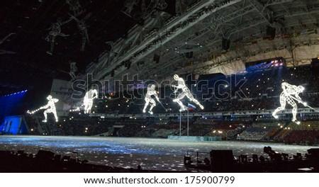 Sochi, RUSSIA - February 7, 2014: Opening ceremony of Sochi 2014 XXII Olympic Winter Games - stock photo