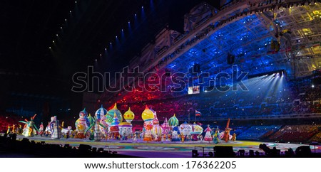 Sochi, RUSSIA - February 7, 2014: Opening ceremony of Sochi 2014 XXII Olympic Winter Games - stock photo