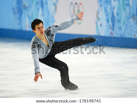 Sochi, RUSSIA - February 14, 2014: Patrick CHAN (CAN) on ice during figure skating competition of men free skating at Sochi 2014 XXII Olympic Winter Games