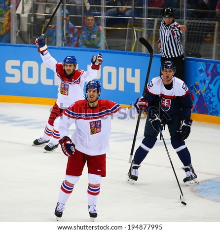 Sochi, RUSSIA - February 18, 2014: Roman CERVENKA (CZE) on ice during Ice hockey Men's Play-offs Qualifications Game vs. Slovakia team at the Sochi 2014 Olympic Games - stock photo
