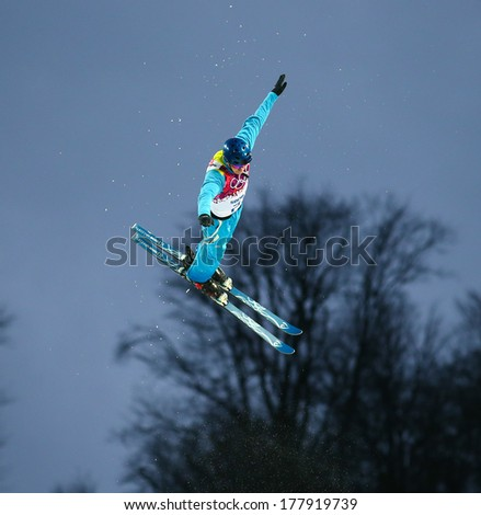 Sochi, RUSSIA - February 16, 2014: Sergei BERESTOVSKIY (KAZ) at freestyle Skiing competition during Men's Aerials Qualification at Sochi 2014 XXII Olympic Winter Games