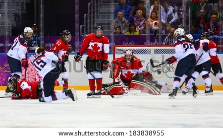 Sochi, RUSSIA - February 20, 2014: Shannon SZABADOS (CAN) at Canada vs. USA Ice hockey Women's Gold Medal Game at the Sochi 2014 Olympic Games - stock photo