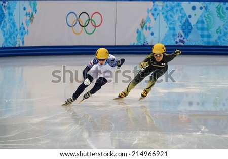 Sochi, RUSSIA - February 18,  Tatiana BORODULINA (RUS), No 149 at Ladies' 3000 m Heats Short Track Relay at the Sochi 2014 Olympic Games - stock photo