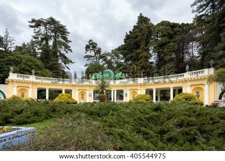 Sochi, Russia - February 8, 2016: The main entrance to the Arboretum Park - Rotunda. Arboretum in Sochi - is a green treasure house of Russian subtropics, numbering more than 1,800 exotic and rare - stock photo