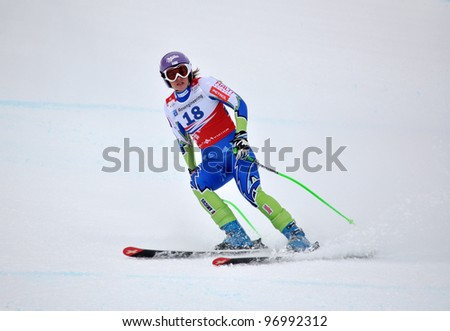 SOCHI, RUSSIA - FEBRUARY 18: Tina Maze competes in the on FIS Alpine Ski World Cup  2011/2012 on February 18, 2012 Russia, Sochi, Rosa Khutor, Russia.