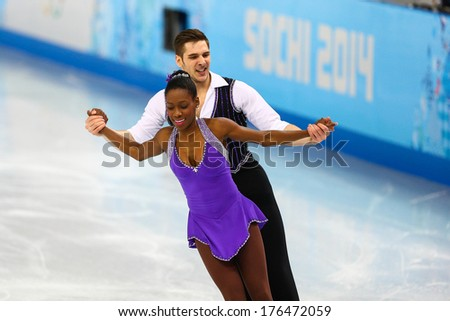 Sochi, RUSSIA - February 11, 2014: Vanessa JAMES and Morgan CIPRES (FRA) on ice during figure skating competition of pairs in short program at Sochi 2014 XXII Olympic Winter Games - stock photo