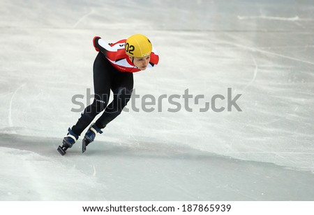 Sochi, RUSSIA - February 18, 2014: Veronika WINDISCH (AUT) No.102 at Ladies' 1000 m Short Track Heats at the Sochi 2014 Olympic Games