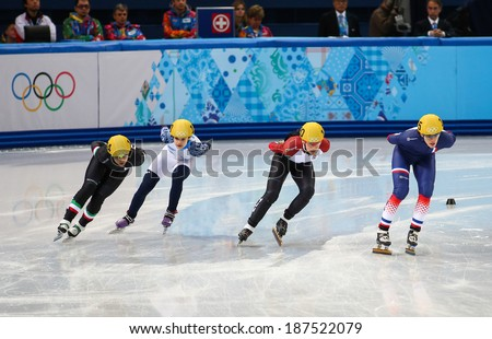 Sochi, RUSSIA - February 18, 2014: Veronique PIERRON (FRA) No.115 at Ladies' 1000 m Short Track Heats at the Sochi 2014 Olympic Games - stock photo