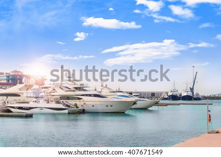 SOCHI, RUSSIA - FEBRUARY 27: Yachts in the sea port on February 27,2016 in Sochi