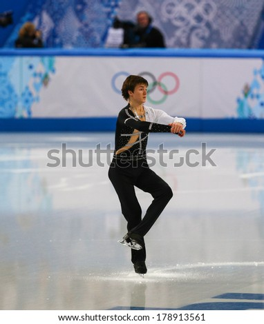 Sochi, RUSSIA - February 13, 2014: Yakov GODOROZHA (UKR) on ice during figure skating competition of men in short program at Sochi 2014 XXII Olympic Winter Games