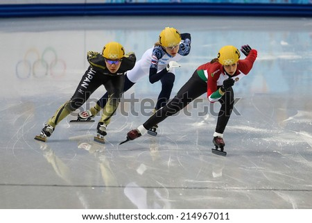 Sochi, RUSSIA - February 18, 2014 Zsofia KONYA (HUN), No 122 at Ladies' 3000 m Heats Short Track Relay at the Sochi 2014 Olympic Games - stock photo