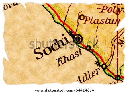 Sochi, Russia, host of the Winter Olympics 2014 on an old torn map from 1949, isolated. Part of the old map series. - stock photo