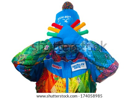 SOCHI, RUSSIA - JAN 9, 2014: Presentation of the official uniforms of employees and volunteers at the Olympic Games in Sochi in 2014 - stock photo