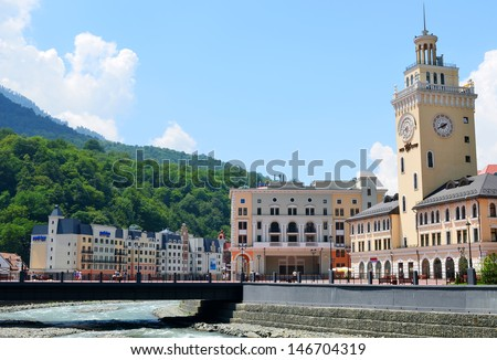 """SOCHI, RUSSIA - JULY 10:construction of a new ski resort """"Rosa Khutor"""" on July 10, 2013 in Sochi, Russia. Total investment is 69 billion rubles. Management will provide the French """"Compagnie des Alps"""" - stock photo"""