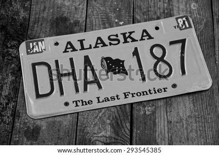 SOCHI, RUSSIA - JUNE 11, 2015: ALASKA license plate in the Sochi Auto Museum on June 11th 2015. - stock photo