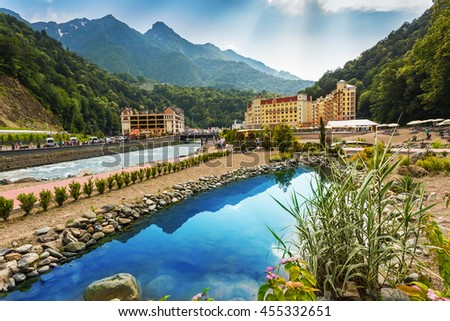 """SOCHI, RUSSIA - JUNE 23, 2016: The resort """"Rosa Khutor"""" in Sochi, Rose Farm ski resort, here are the hotels where living participants and guests of the Winter Olympic Games 2014 - stock photo"""