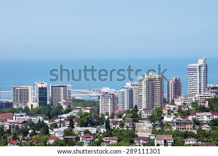 SOCHI, RUSSIA - JUNE 11, 2015. View to new buildings of the city - stock photo
