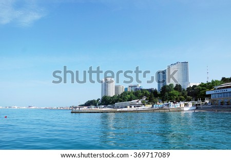 SOCHI RUSSIA  JUNE 11 2015. View to the main seafront embankment of the city - stock photo
