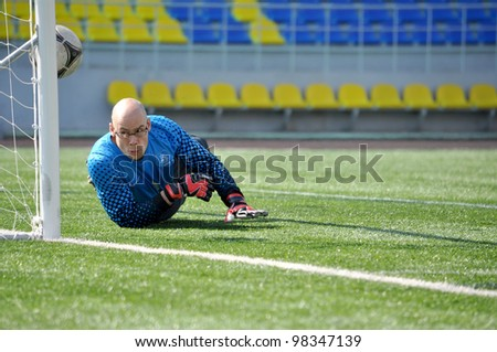 SOCHI,RUSSIA-MARCH 20:7-a-side soccer match for people with cerebral palsy on Mar. 20 2012 in Sochi is in preparation for Paralympics 2012 in London. Netherland goalkeeper