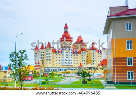 SOCHI, RUSSIA - MARCH 27, 2016: Building of Hotel Bogatyr at the Sochi Park - stock photo