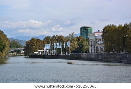 SOCHI, RUSSIA - SEPTEMBER 29, 2016: Cityscape of Sochi and river Sochi