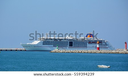 SOCHI, RUSSIA - SEPTEMBER, 2014: Cruise ship Europa 2 in the Sea port of Sochi