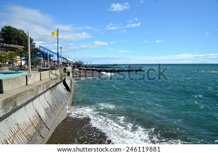 SOCHI, RUSSIA SEPTEMBER, 2013: View of the beach in the Sochi, Russia - stock photo