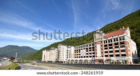 SOCHI, RUSSIA - SEPTEMBER 27, 2014: View of the Rose Farm, Krasnaya Polyana, Sochi, Russia. Built for the 2014 Olympic Games. - stock photo