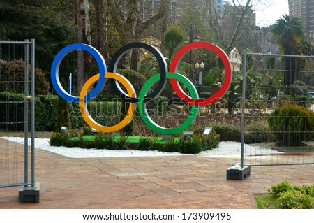 SOCHI, RUSSUA - JAN 29, 2013: Olympic rings on the square of the capital of the Winter Olympics in 2014 - stock photo