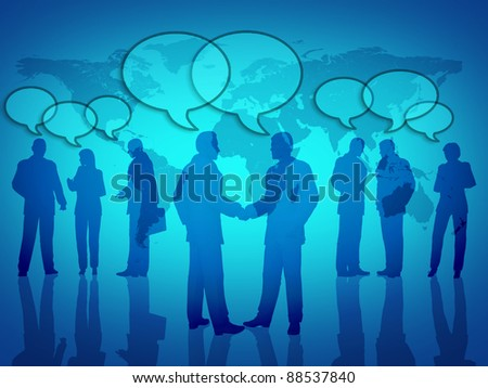 Social business networking symbol showing teamwork and social gatherings with a global map in the background. - stock photo