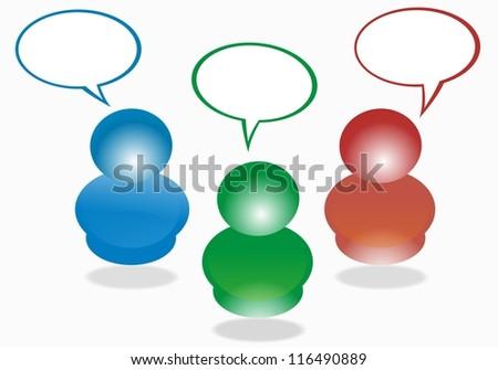 social communication - bubblles - stock photo