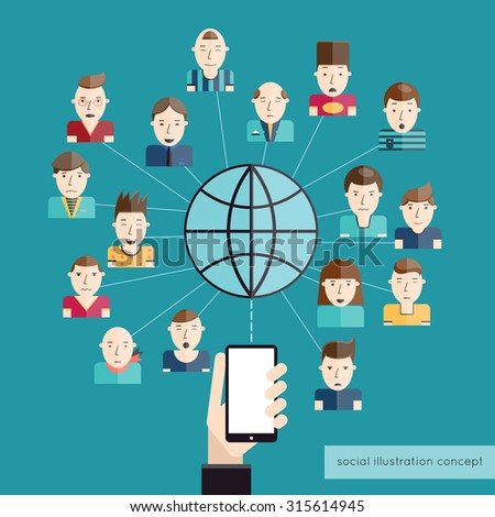 Social communication concept with people avatars globe and hand with mobile phone  illustration