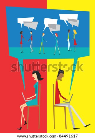 Social community people interaction with speech balloon concept - stock photo