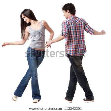 Social dance West Coast Swing. A demonstration pose. - stock photo