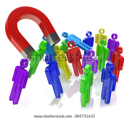 Social engineering concept: horseshoe magnet capturing crowd of color human figures isolated on white background in the design of the information related to the concept of attracting new people - stock photo