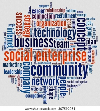Social Enterprise in word collage - stock photo