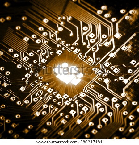 Social icon on computer chip - technology concept - stock photo