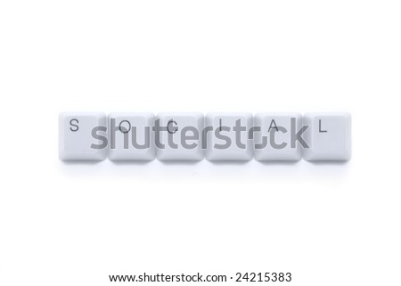SOCIAL internet - caption by keyboard keys isolated on white background